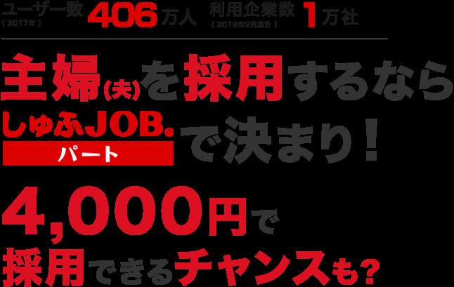 ユーザー数406万人 利用企業数1万社 主婦(夫)を採用するならしゅふJOBパートで決まり!4,000円で採用できるチャンスも?